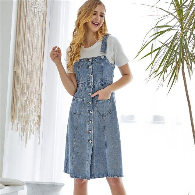 Colorfaith New 2019 Women Denim Dresses Spring Autumn Knee-Length Casual Ladies Strap Dress Overalls Pockets DR8851 2