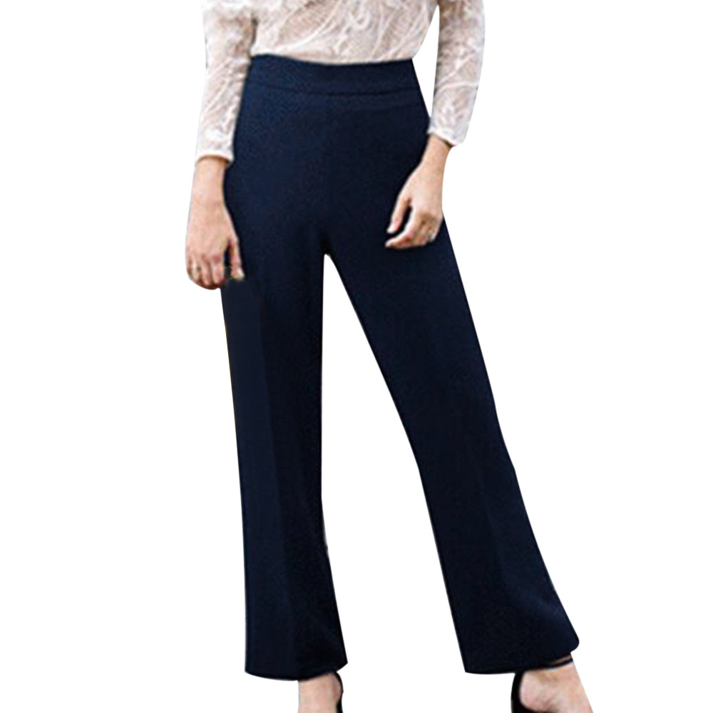 2019 Fashion Plus Size 5XL Pants Women Office Ladies Style Solid Mid-Waist Loose Straight Casual Long Pants брюки Wholesale
