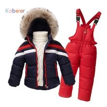 2016 New Children Winter Clothing Set 2 8 T 100 Down Jacket Overalls Boys Snowsuit Girls