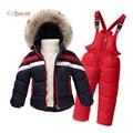 2016 Nova Crianças Conjunto de Roupas de Inverno 2-8 T 100% Para Baixo jaqueta Macacão Meninos Snowsuit Meninas Crianças Macacão Terno De Esqui Bebê Outerwear
