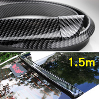 1.5m Carbon Fiber Rubber Soft Black Auto Car Rear Roof Trunk Spoiler Wing Lip Sticker for Suitable for all models