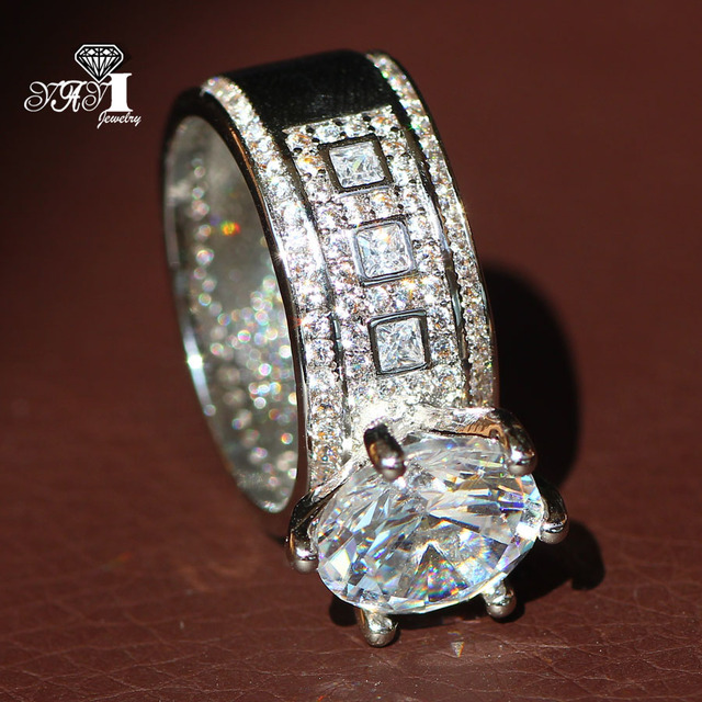 YaYI Jewelry Fashion  Princess Cut  Huge 4.6CT White Zircon Silver Color Engagement Rings wedding Rings Party Rings