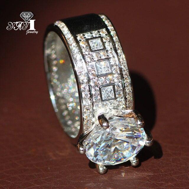Яи ювелирных изделий принцесса сократить огромные 4.6CT Белый Циркон серебряные Цвет Обручение кольца обручальные кольца вечерние кольца