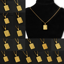 A-Z Pendant English Alphabet Necklace Fashion For Women Gift Stainless Steel Chain Alloy Jewelry