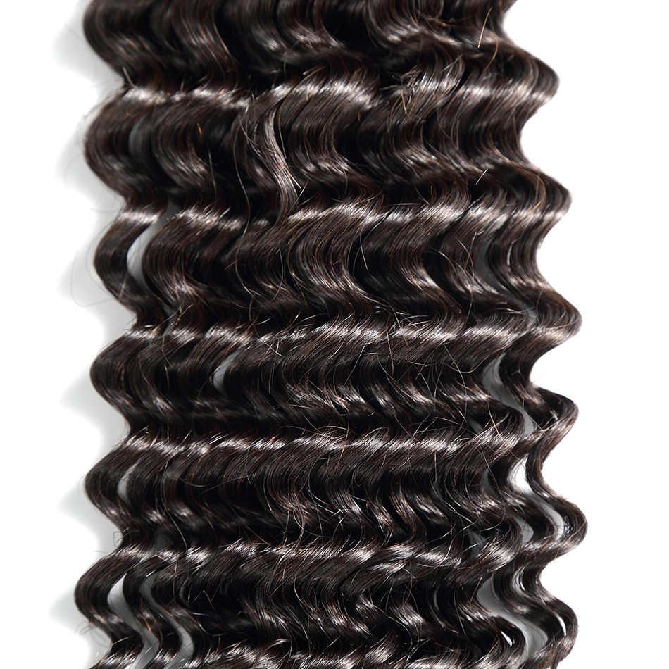 Mechones de pelo humano rizado peruano ILARIA con cierre onda profunda 100% cabello Remy 2 paquetes con 13*4 frontal de encaje de cierre