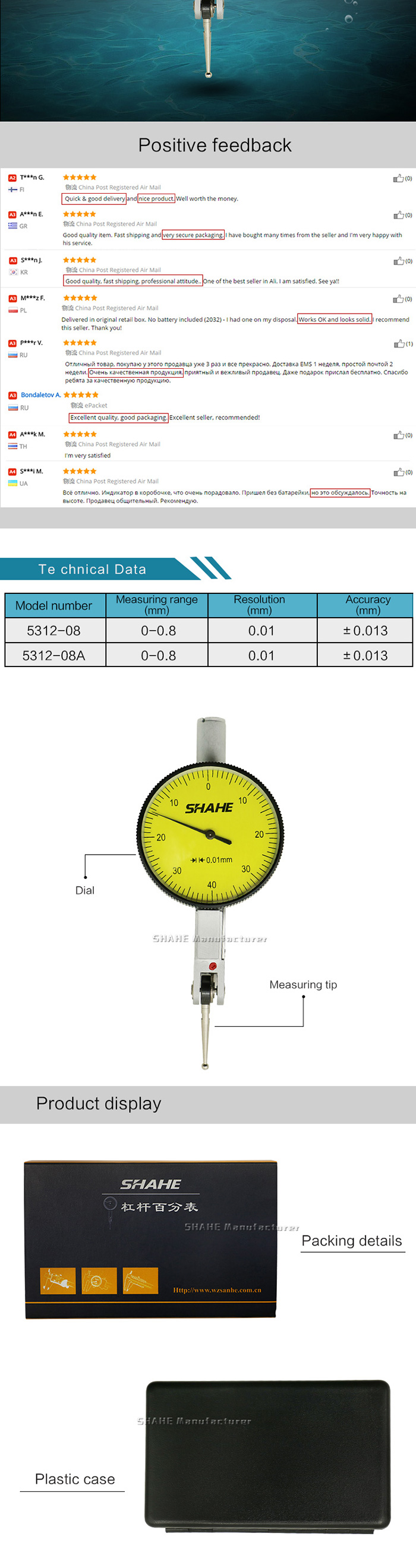 0-0.8mm 0.01mm Graduation Accuracy Industrial Lever/' Dial Indicator New Trendy
