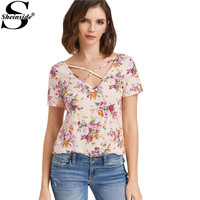 Sheinside Floral T-shirt Women Pink Crisscross V Neck Cute Print Short Sleeve Summer Tops 2017 Fashion Casual Cut Out T-shirt