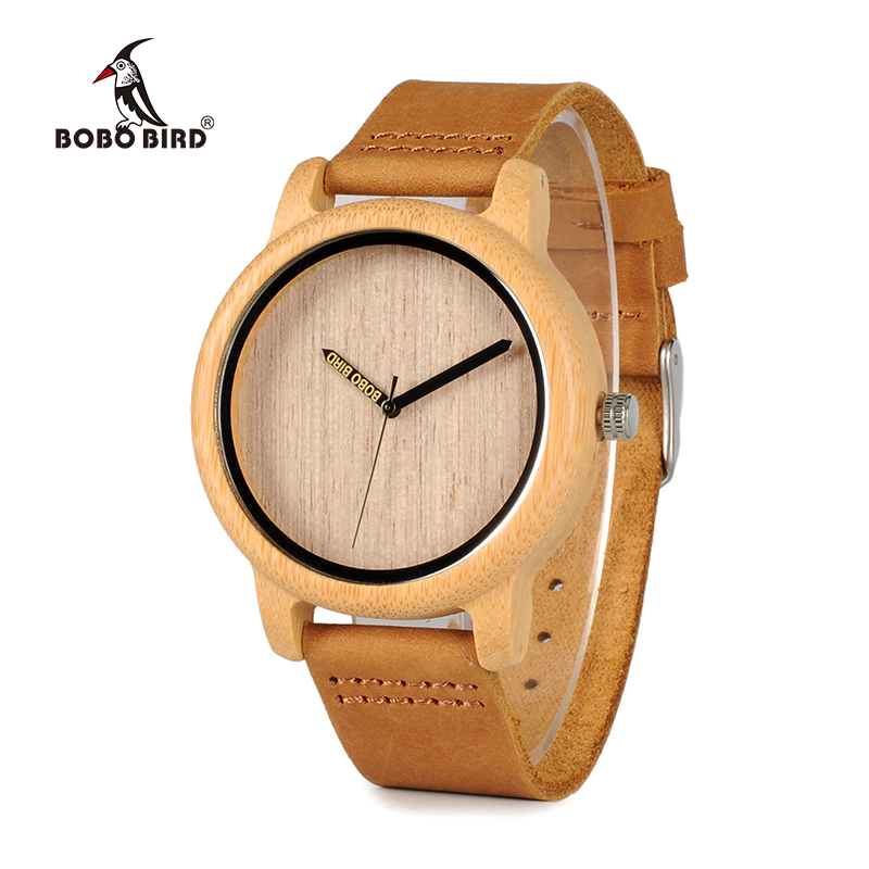 BOBO BIRD Fashion Design Mens Bamboo Watches Genuine Cowhide Leather Band Wristwatches For Men And Women Relogio Masculino C-A22