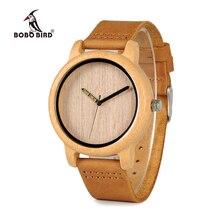 Bobo pássaro design de moda dos homens relógios de bambu couro genuíno pulseira relógios de pulso para homem e mulher relogio masculino C A22