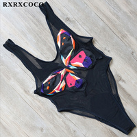 RXRXCOCO Sexy One Pieces Swimsuit 2017 Lace Fabric Swimwear Female Butterfly Printed Monokini Summer Beachwear Bathing