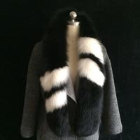 New lady blinger patchowrk real fox fur scarf simple office lady luxurious fox fur muffler fur scarf super long fox fur scarf