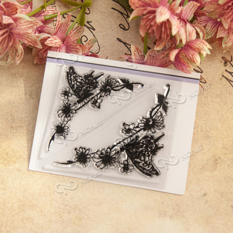 butterfly Flower frame Transparent Clear Silicone Stamp/Seal DIY scrapbooking/photo album Decorative clear stamp sheets handwork lovely animals and ballon design transparent clear silicone stamp for diy scrapbooking photo album clear stamp cl 278