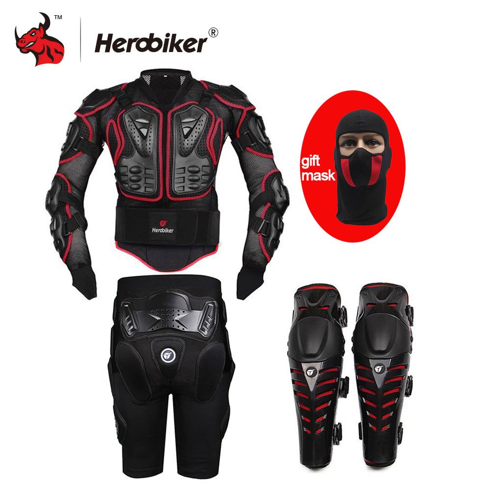 HEROBIKER Red Motorcycle Body Armor Motocross Armour Motorcycle Jackets Gears Short Pants protective Motocycle Knee Pad