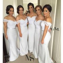 New Arrival Off The Shoulder Long Mermaid Bridesmaid Dresses Lace Wedding Party Gowns Maid Of Honor C93