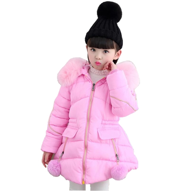 97af6dc1ace7 2018 Warm Baby Teenager Winter Jacket For Girls Fur Hooded Kids Girls  Winter Coat Cotton-Padded Parka Children s Clothes JW2625B