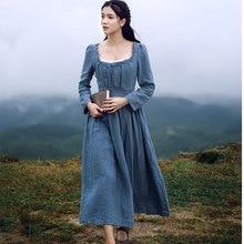 Необычные Золушка французский элегантный ретро суд с длинным рукавом квадратный воротник Лен Тонкий Осень и зима платье