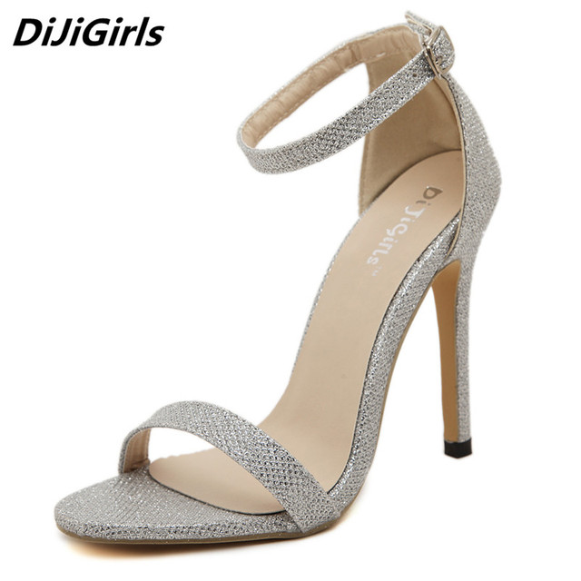 e061c2a210939a DiJiGirls Slim Thin High Heel Sandals Women Sexy Concise A Band Silver  Sandals Gladiator Street beat Shoes Party Sandalias Lady