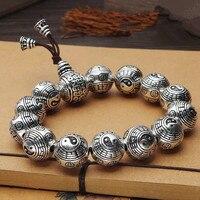 100% 990 Silver Taichi Bagua Beads Bracelet Silver Fengshui Yinyang Beads Bracelet Good Luck Mala Bracelet