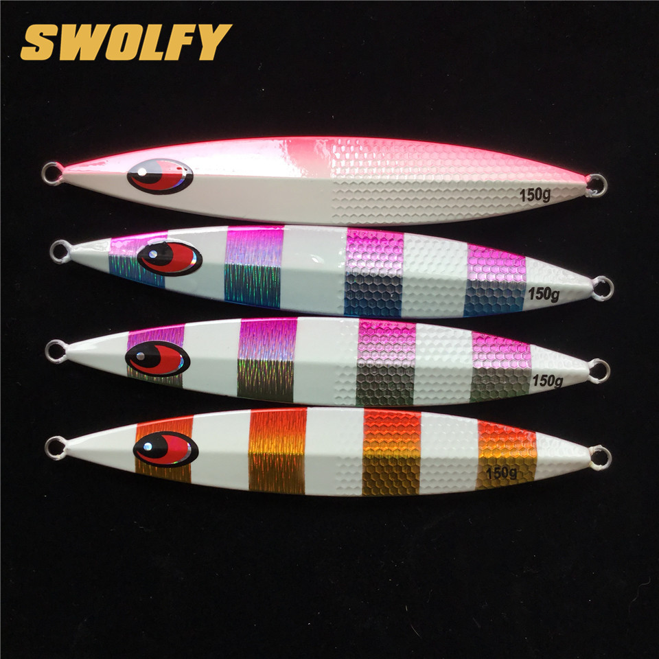 Swolfy 4pcs/lot 150g Slow Jig Spoon Lure Deep Sea Metal Jigging Lure fishing wobblers special for tuna