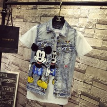 Neue Koreanische Mode Cartoon Stickerei Zerrissene Jeans Weste Weste Frauen Studenten Casual Denim Jacke Dünne Mantel Outwear(China)