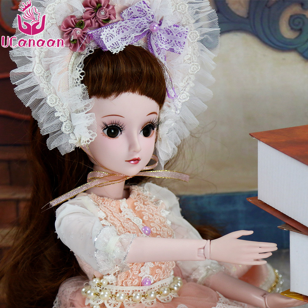 UCanaan 19 Ball Jointed BJD Doll 1/3 SD Princess Toys For Girls With Outfit Dress Hat Wig Makeup Bonecas Baby Reborn DIY Dolls 1 3 uncle bjd sd doll clothes accessories 4 color bjd hat bowler hat