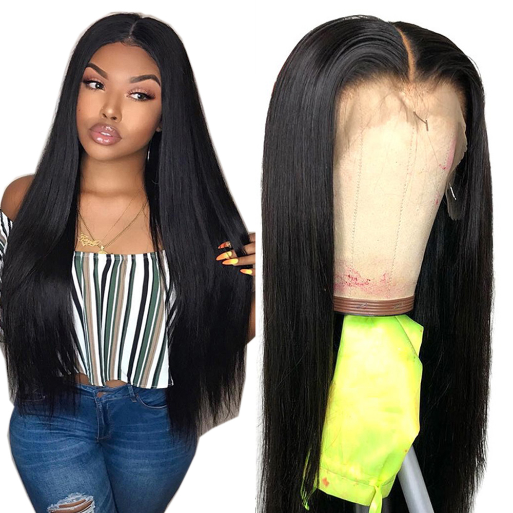 Straight Lace Front Human Hair Wigs Free Part Brazilian Remy Hair Wig 8 24 Pre Plucked