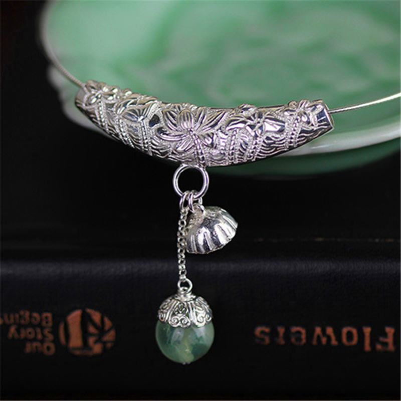 купить Lotus Fun Real 925 Sterling Silver Natural Prehnite Handmade Fine Jewelry Lotus Seedpod Pendant without Necklace for Women по цене 2713.1 рублей