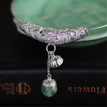Lotus Fun Real 925 Sterling Silver Natural Prehnite Handmade Fine Jewelry Lotus Seedpod Pendant without Necklace for Women