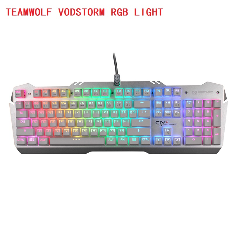 TEAMWOLF Vodstorm  RGB light  CIY  Mechanical Keyboard 104key  black blue switch Backlit Gaming Keyboard  RUSSIAN Sticker russian keyboard keys letters sticker black