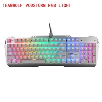 Teamwolf vodstorm RGB света Ciy механическая клавиатура 104key Черный Синий переключатель с подсветкой Gaming Keyboard России Стикеры