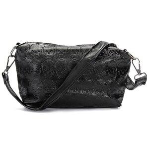 Image 4 - FGGS 2 Pcs/set Fashion Skull Women Handbag Shoulder Bag Tote Purse Leather Crossbody Bag With Silk Female Black Handbags