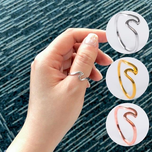 Mossovy Onda Liga Encantos Anéis de Prata Anel de Ouro Rosa Anéis de Casamento para As Mulheres Da Moda Jóias Anel Para Fêmea Moda Simples Presentes Para Mulheres