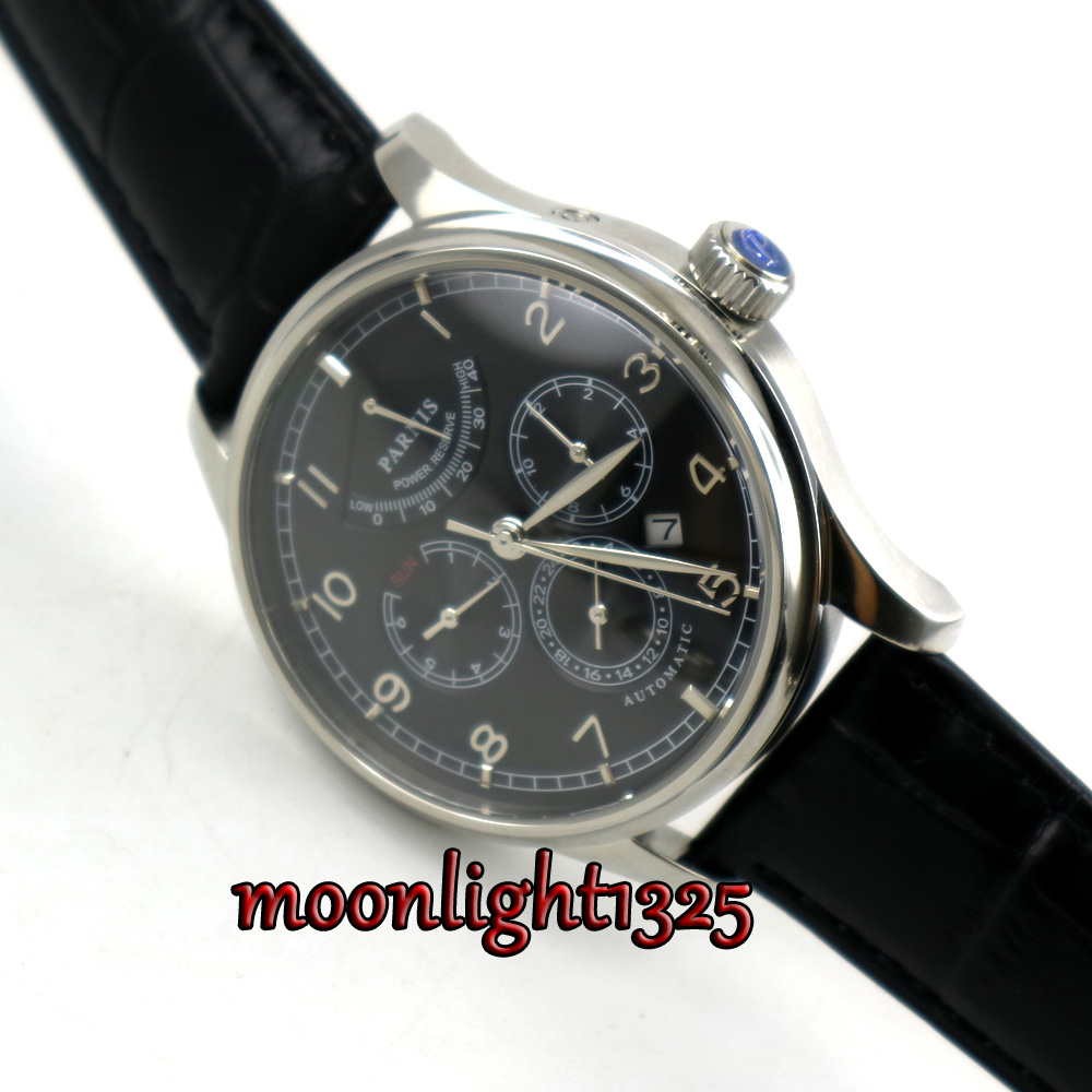 42mm parnis Black dial Black strap Multifunction Sapphire Glass 26 jewels miyota 9100 Automatic mens Watch цена и фото