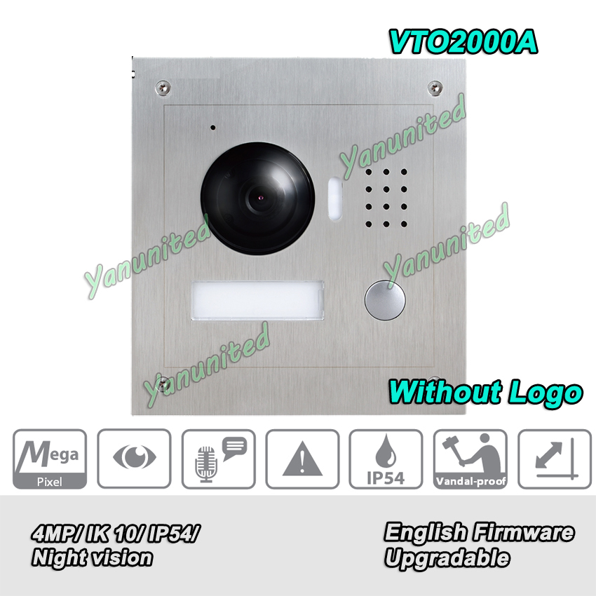 Original English Version VTO2000A Stainless steel panel IP54 IK07 Remote intercom with mobile APP HD CMOS