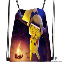 Custom pokemon_pikachu_Drawstring Backpack Bag for Man Woman Cute Daypack Kids Satchel (Black Back) 31x40cm#20180611-03-154