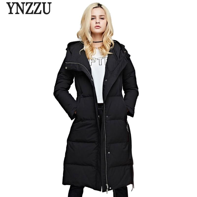 Brand New Winter Women's 90% White Goose   Down   Jacket Elegant Long OL   Coat   Women Thicken Warm Hooded Loose Female Overcoat AO730