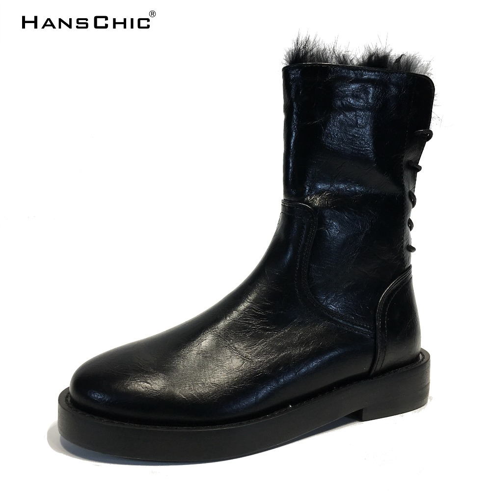 HANSCHIC 2017 New Arrival Winter Black Retro Special Rabbit Fur Leather Low Heel Womens Casual Boots Shoes for Female 3330 hanschic 2018 spring new arrival houndstooth design retro slip on lady womens med heels pumps shoes for female 001