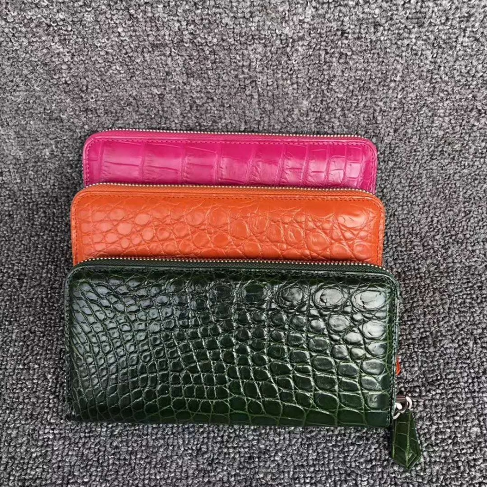 100% REAL genuine crocodile leather skin men wallet long size matt colors with cow skin lining bank card cash license holder100% REAL genuine crocodile leather skin men wallet long size matt colors with cow skin lining bank card cash license holder