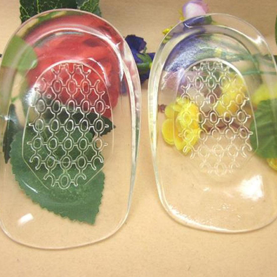 Invesible Tall 1 Pair Transparent Heel Shoes Insoles Massage Air Cushion Soft Silicone Gel Inserts Pads Foot Care Tool