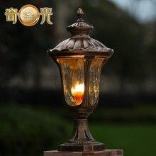 waterproof garden pillar light fitting aluminum 220V 110V bronze europe wall column outdoor post lamp warm