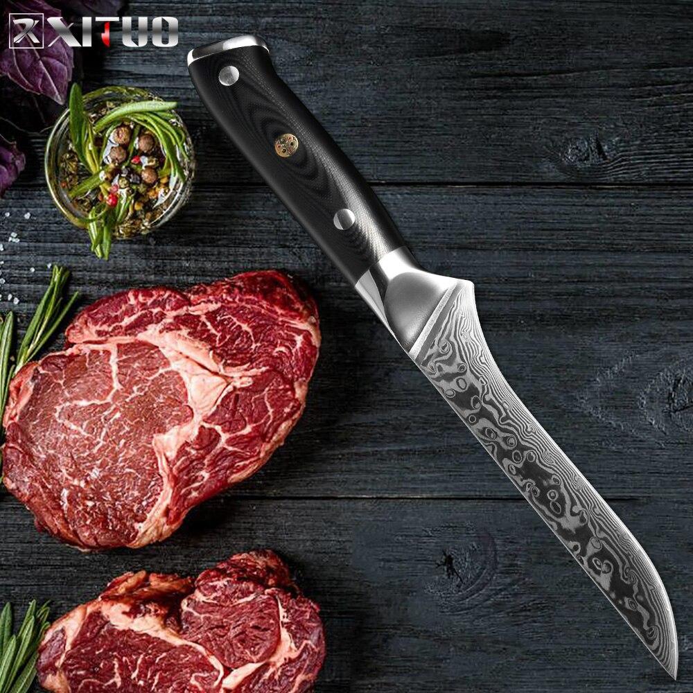 Xituo 6 인치 본딩 나이프 67 층 다마스커스 강철 날카로운 컷 고기 전문 선택 뼈 조각 주방 요리사 특별 요리 도구