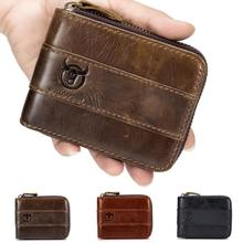 Bullcaptain RFID Antimagnetic Vintage Genuine Leather 11 Card Slots Coin Bag Wallet For Men цена и фото