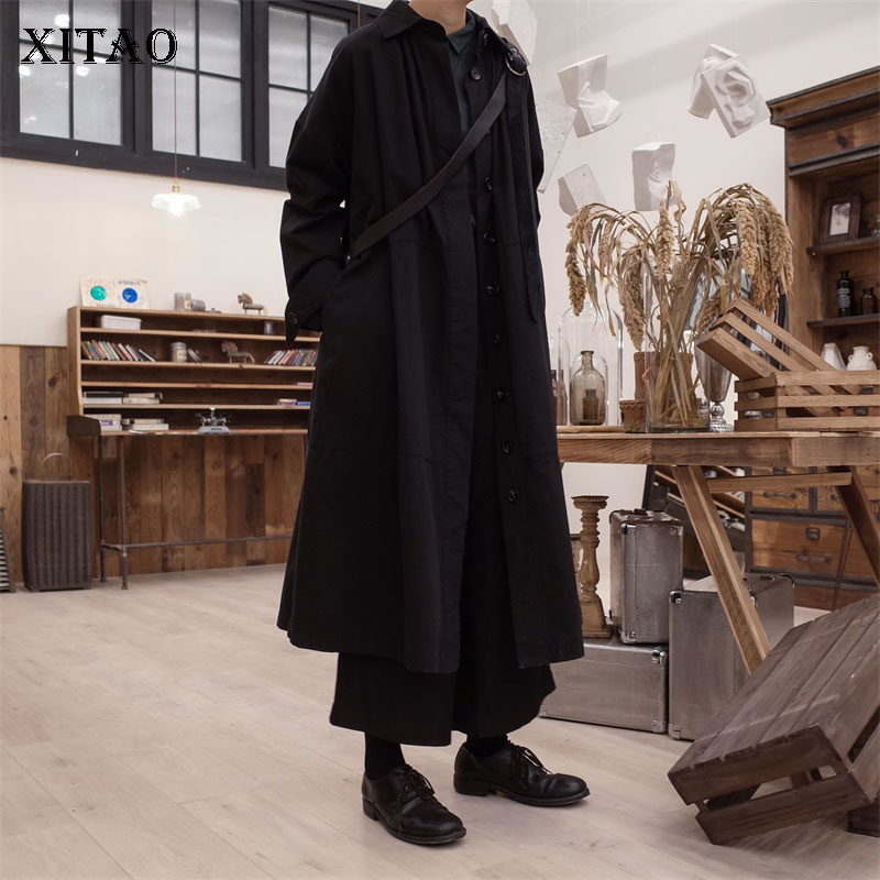 [XITAO] Single Breasted Women Korea Fashion New Women 2019 Spring A-line Solid Color Turn-down Collar Full Sleeve   Trench   WBB1869