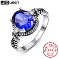 Vintage Tanzanite Blue Nature stone Round Cut Silver Twisted Rings for Women 925 Sterling Silver Wedding Rings Christmas Gift