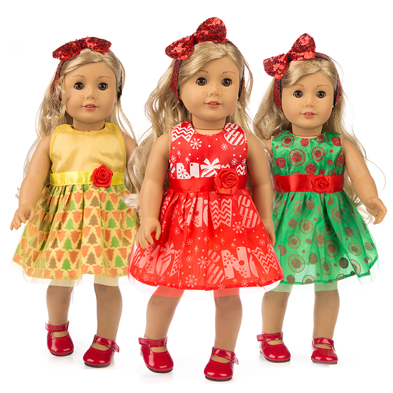 Fit For 18/'/' American Girl Gift Pink Cross Stripe One-piece Garment Doll Clothes