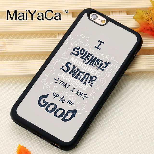 hot sale online 41528 719ee US $4.45 5% OFF|MaiYaCa Harry Potter Up To No Good Phone Cases For iPhone 6  6s Coque Case Black Rubber Soft TPU Drawing Phone Case Back Cover-in ...