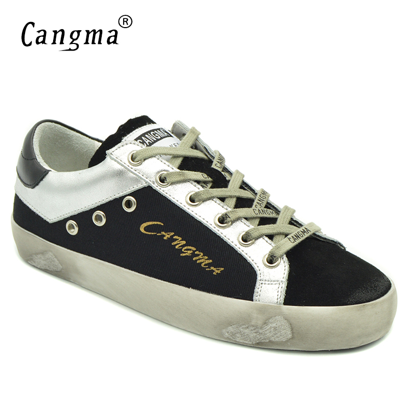 CANGMA Original Deluxe Womens Black Canvas Sneakers Shoes Spring Autumn Breathable Suede Leather Footwear Girls Vintage FlatsCANGMA Original Deluxe Womens Black Canvas Sneakers Shoes Spring Autumn Breathable Suede Leather Footwear Girls Vintage Flats