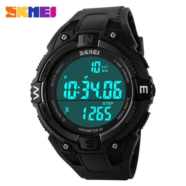 SKMEI Watches Men Pedometer 3D LED Digital Watch Multifunction Waterproof Pedometer Outdoor Sport Military Wristwatch Black