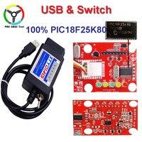 100% Orignal PIC18F25K80 Çip ELM327 V1.5 USB Anahtarı ELM 327 Ford HS için CAN/MS Forscan OBD2 Teşhis Için CAN tarayıcı
