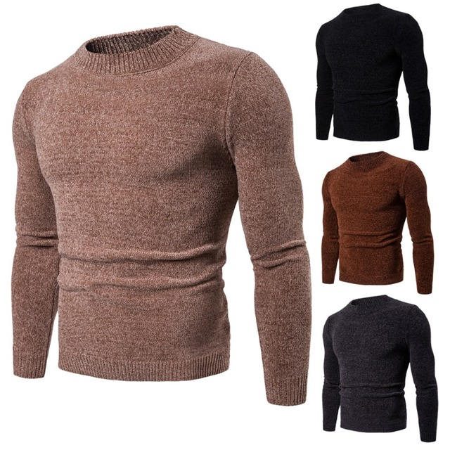 ecb1ec746 High quality men chenille sweater autumn long sleeve pullover solid ...